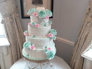 mint and pink - Cake by Aine Cuddihy