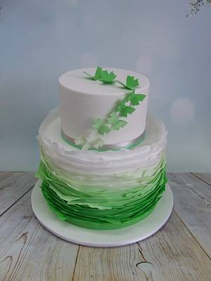 Green Ombre Ruffle Cake - Cake by Cake A Chance On Belinda
