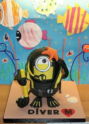 Scuba Diver Minion - Cake by WhenEffieDecidedToBake