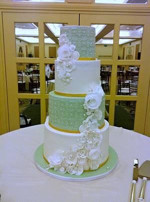 Vintage Mint Wedding - Cake by Stevi Auble