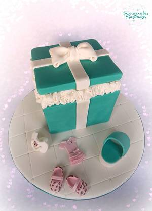 Tiffany Box Baby Shower Cake & Cupcakes - Cake by Spongecakes Suzebakes