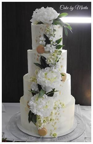 Wedding cake with peonies - Cake by MartaMc