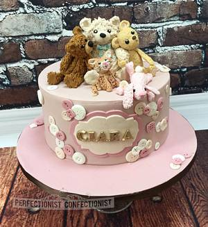 Ciara - Teddy Bear Christening Cake - Cake by Niamh Geraghty, Perfectionist Confectionist