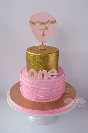 Glittery Gold and Pink Ruffles - Cake by Susan