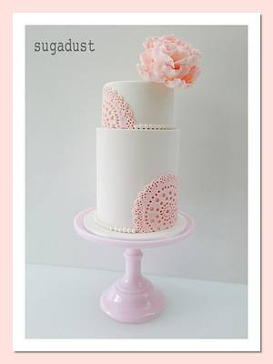 Vintage Doily Christening Cake - Cake by Mary @ SugaDust