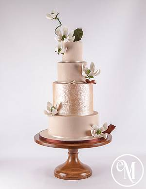 Pantone Iced Coffee and Rose Gold Brocade  - Cake by Enchanting Merchant Company