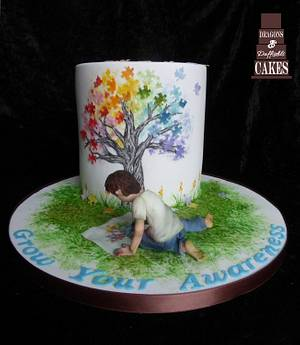 SugarArt4Autism Collab - Cake by Dragons and Daffodils Cakes