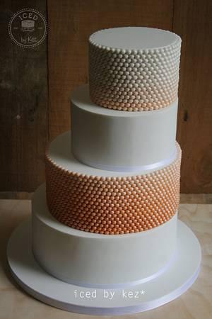 Ombre Beads Wedding Cake - Cake by IcedByKez