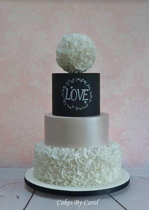 Chalkboard & Ruffles Wedding - Cake by Carol