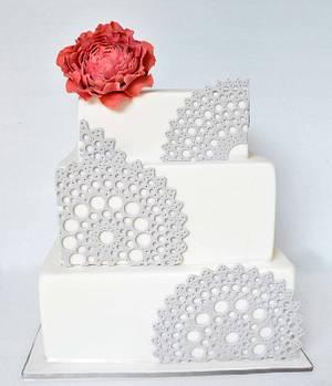 Doily & Peony Wedding Cake - Cake by Emma
