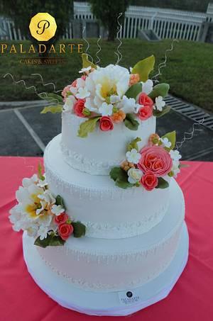 Floral Wedding cake - Cake by Paladarte El Salvador