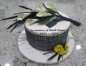 In memory, white calla lillies, baby yellow roses, black lace cake - Cake by MBalaska