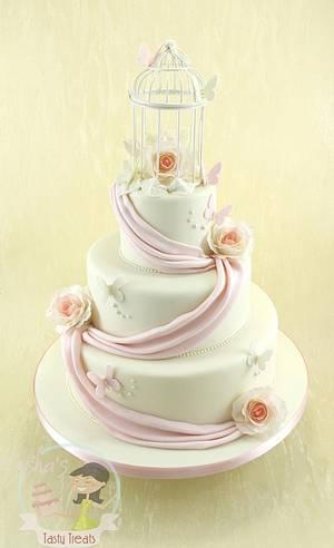 Vintage Birdcage Wedding Cake with Sugar Roses and Swags - Cake by Natasha Shomali