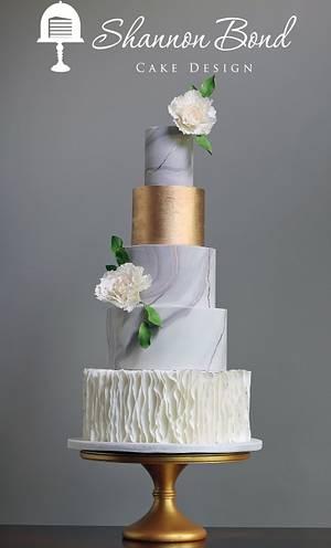 Marbled Gold Wedding Cake - Cake by Shannon Bond Cake Design