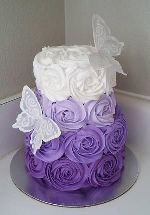Purple Ombre Rosette Cake - Cake by Kimberly Cerimele