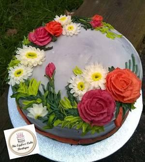 Fresh cream cake decorated with buttercream flowers - Cake by Payal Jain