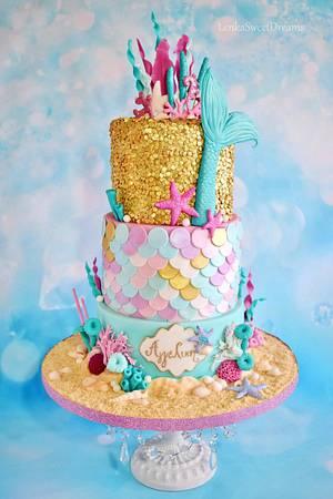 Mermaid sequin cake. - Cake by LenkaSweetDreams