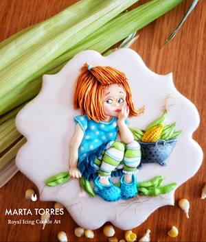 """A sweet  """"Corn Girl"""" - Cake by The Cookie Lab  by Marta Torres"""