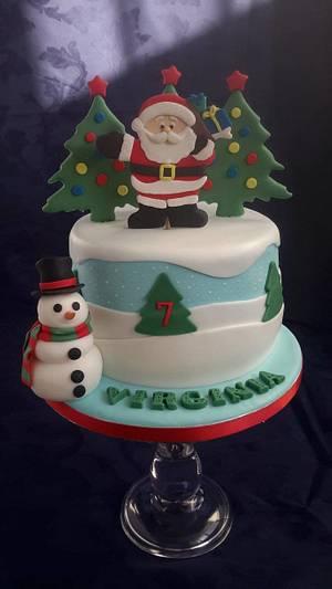 Christmas themed birthday cake - Cake by Essence of sugar