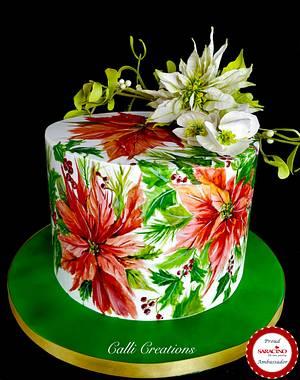 Christmas Poinsettia Cake  - Cake by Calli Creations