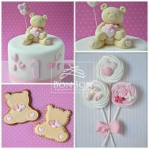Girl bear cake and Co. - Cake by bonbonsugarart