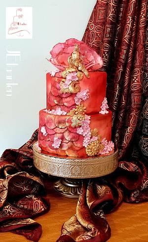 "red saree cake for ""beautiful Sri Lanka"" collab  - Cake by Judith-JEtaarten"