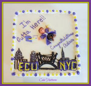 ECU to NYC Graduation Cake - Cake by Donna Tokazowski- Cake Hatteras, Hatteras N.C.