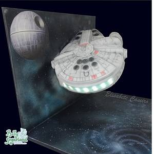 Flying Millenium Falcon with lights - Cake by Bety'Sugarland by Elisabete Caseiro