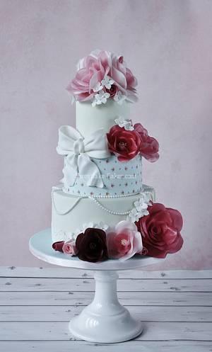 Shabby chic wafer paper flower cake part 2 - Cake by Tamara