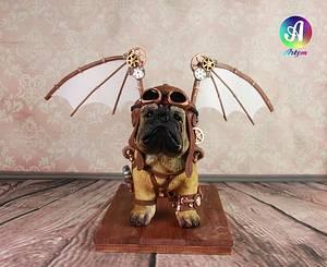 Puppy Pug Aviator - Cake by Artym