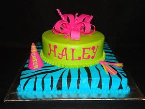 Cheerleader Zebra Cake - Cake by Kim Leatherwood