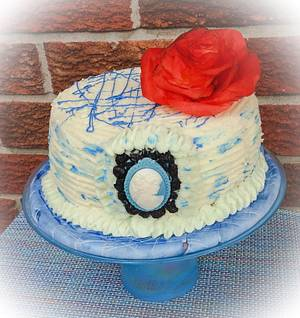 """Blue Themed Birthday Cake - Cake by June (""""Clarky's Cakes"""")"""