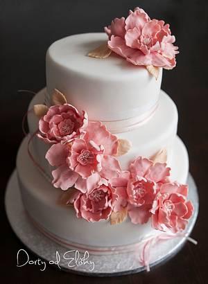 wedding cake in oldpink colour - Cake by Eliska