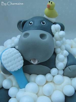 Giant Hippo in a Bath Cupcake - Cake by Charmaine