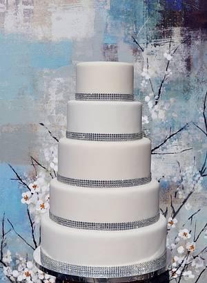 White Bling 5 tier Wedding Cake - Cake by Lea's Sugar Flowers