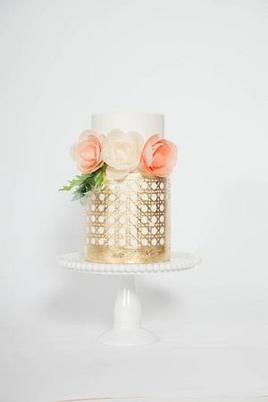 Gold leaf caning and wafer paper flowers - Cake by Stevi Auble