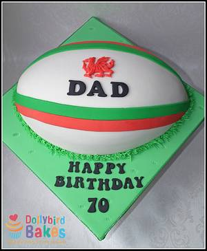 Rugby Ball Cake - Cake by Dollybird Bakes
