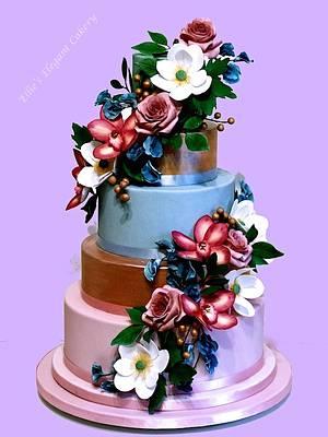 Wedding cake colour burst - Cake by Ellie @ Ellie's Elegant Cakery