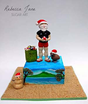 Santa's Passport Collaboration - Christmas in New Zealand - Cake by Rebecca Jane Sugar Art