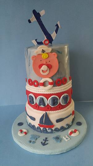 """Nautical Baby Shower Cake - Cake by June (""""Clarky's Cakes"""")"""