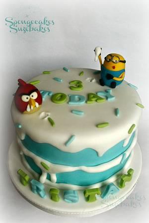 Angry Bird vs Minion Cake - Cake by Spongecakes Suzebakes
