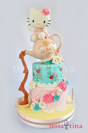 Hello Kitty Shabby Chic Cake - Cake by tessatinacakes