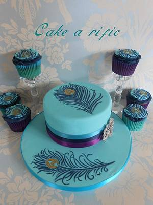 Peacock Feather Cake with matching Cup Cakes - Cake by Angela Grech