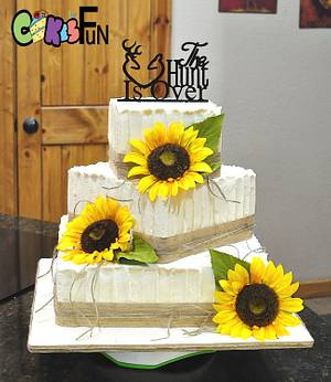 Country Wedding Cake With Sunflowers - Cake by Cakes For Fun