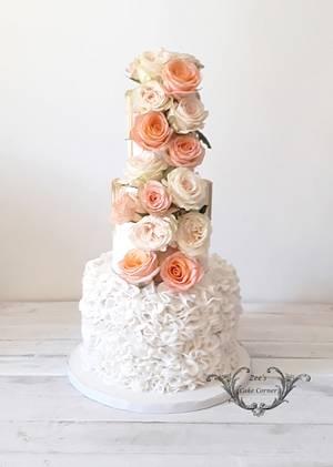 Ruffles and Roses - Cake by Zaafirah Adams  - Zee's Cake Corner