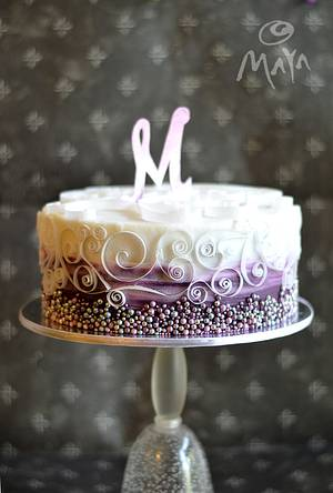 Wafer paper monogram and quilling scrolls - Cake by Abha Kohli