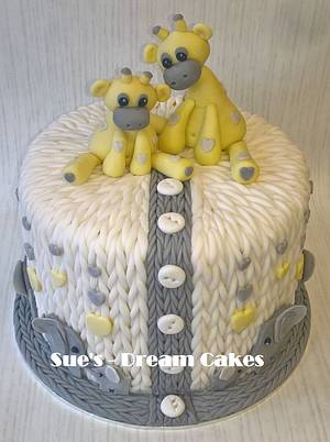Knitted Baby Shower, Elephant and Giraffe, Cake - Cake by Sue's - Dream Cakes