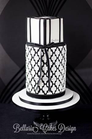 Black and white quatrefoil cake - Cake by Bellaria Cake Design