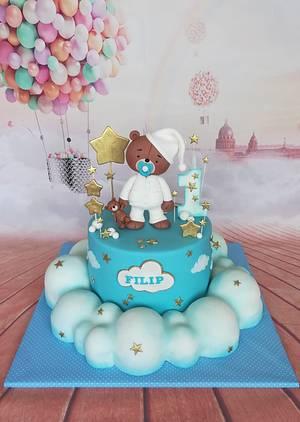 Sleepy bear in clouds - Cake by Zaklina