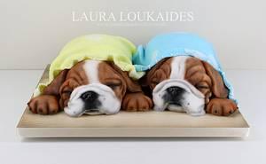 Winnie & Milo - The Sleepy Bulldogs - Cake by Laura Loukaides